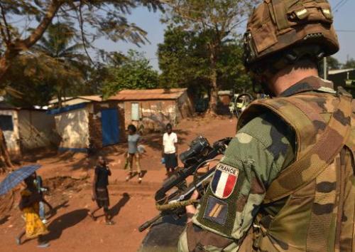 Soldats français de l'opération Sangaris le 4 janvier à Bangui en Centrafrique