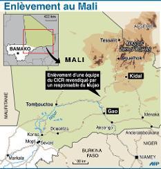 Carte de localisation de l'enlèvement d'une équipe du CICR au Mali entre Kidal et Gao