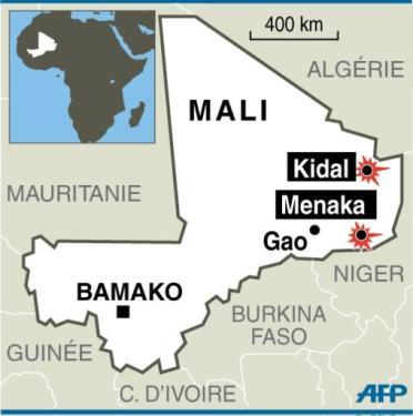 Carte localisant les villes de Kidal et Menaka au Mali reprises par les rebelles touareg