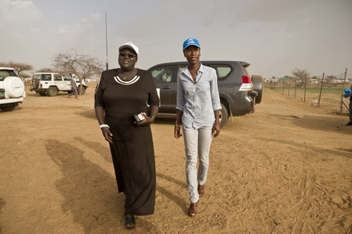 Rokia arrives in Goudoubo refugee camp, accompanied by Marie-Louise Kabre the head of UNH
