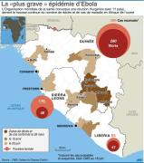 Evolution de la propagation des décès dus à l'épidémie d'Ebola depuis le printemps 2014 en Afrique d