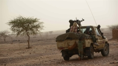 MNLA fighters patrolling in Djebok area, 50 km east of Mali's northern region of Gao wh