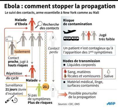 Schéma expliquant la recherche des contacts après un cas avéré d'Ebola
