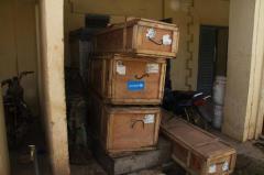 Stock de matériel médical nécessaire pour lutter contre le virus Ebola à Kayes, au Mali,