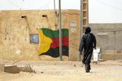 Le drapeau du MNLA peint sur un mur de Kidal