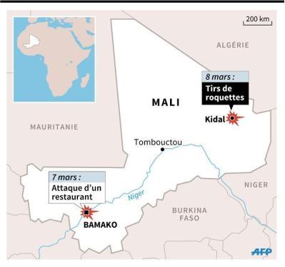 Carte de localisation des dernières attaques à Bamako et à Kidal au Mali