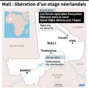 Carte de localisation de Tessalit où un otage néerlandais détenu par l'Aqmi, a été libér