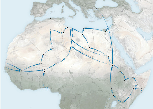 Migration routes through northern Africa (source NY Times)