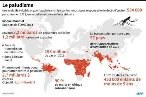 Carte mondiale des pays le plus touchés par le paludisme suite à la publication du rapport de l'OMS