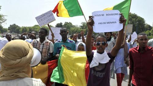 Manifestation de soutien à la population de Ménaka, le 2 mai à Bamako.