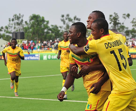Aliou Dieng of Mali celebrates goal with teammates during the 2016 CHAN Rwanda quarterfinal between Tunisa and Mali at Kigali on 31 January 2016 ©Ryan Wilkisky/BackpagePix