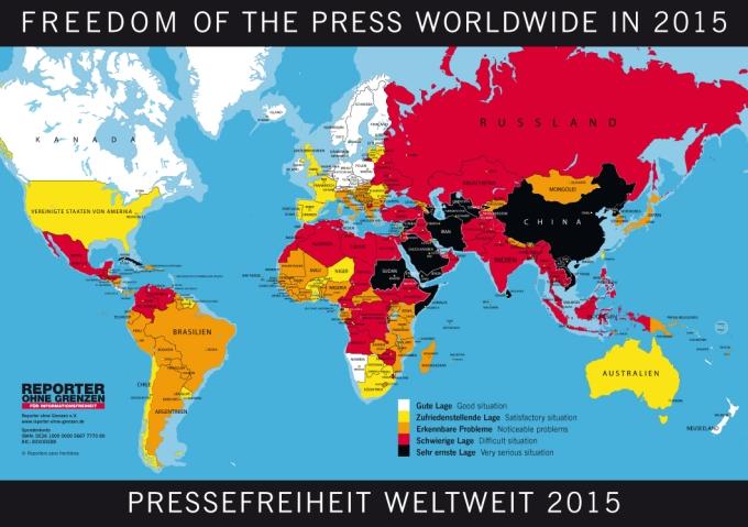(c) Reporter ohne Grenzen: Weltkarte der Pressefreiheit 2015